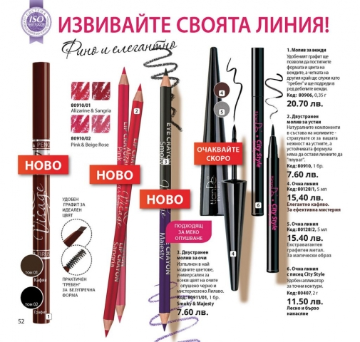 Декоративна козметика за очи и вежди - молив, очна линия: течна или флумастер