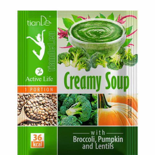 Крем супа с броколи, тиква и леща